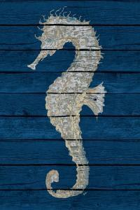 Antique Seahorse on Blue II by Patricia Pinto