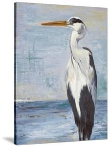Blue Heron On Blue II by Patricia Pinto