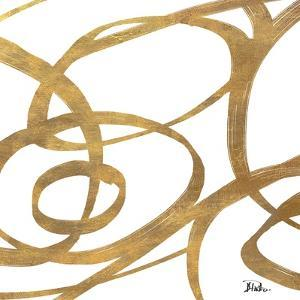 Golden Swirls Square I by Patricia Pinto