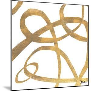 Golden Swirls Square II by Patricia Pinto