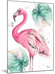Watercolor Leaf Flamingo I by Patricia Pinto