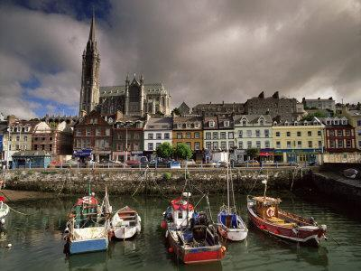 Cobh Harbour and St. Colman's Cathedral, Cobh, County Cork, Munster, Republic of Ireland