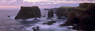 Sunset at Eshaness Basalt Cliffs, with Moo Stack on Left, Northmavine, Shetland Islands, Scotland by Patrick Dieudonne