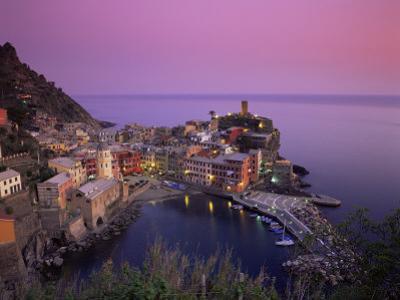 Village and Harbour at Dusk, Vernazza, Cinque Terre, Liguria, Italy, Mediterranean by Patrick Dieudonne