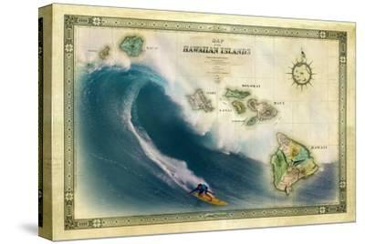 A 1876 Centennial Map of the Hawaiian Islands Depicting a Surfer on the Waves of Maui