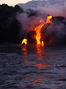 Glowing Lava Flowing into the Sea by Patrick McFeeley