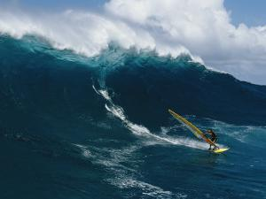 Windsurfing off the North Shore of Maui Island by Patrick McFeeley