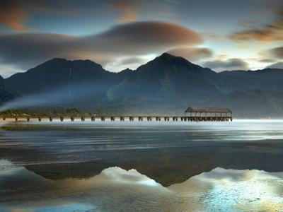 Pier and Sandy Beach at Hanalei on the North Shore of Kauai the Mountains in the Background by Patrick Smith