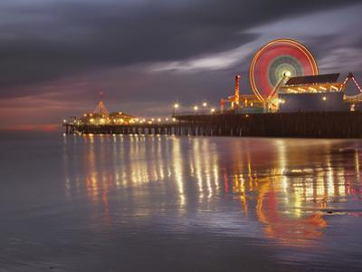 Santa Monica, California, USA Pier at Night, with Lights and Amusement Rides by Patrick Smith