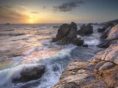 Sunset View of Waves Eroding the Rocky Coastline Near Carmel, Central California, USA by Patrick Smith