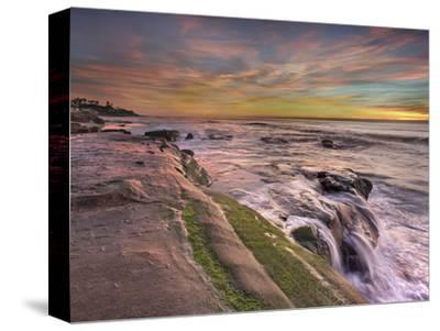 The Wave Eroded Sandstone Rocks on the Coast of La Jolla Near San Diego, California, USA at Sunset