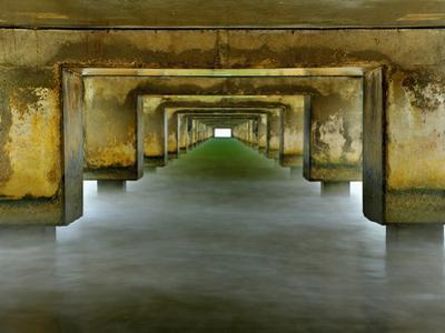 View under the Concrete Pilings of the Pier at Hanalei, Kauai, Hawaii, USA by Patrick Smith