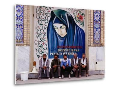 A Group of Men Sitting in Front of a Mural in the Courtyard of the Tomb of Prophet Daniel, Iran
