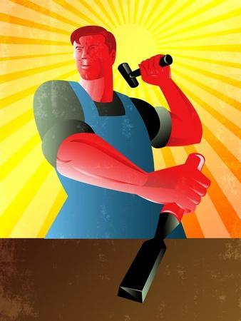 Carpenter Striking Hammer Chisel Poster Retro