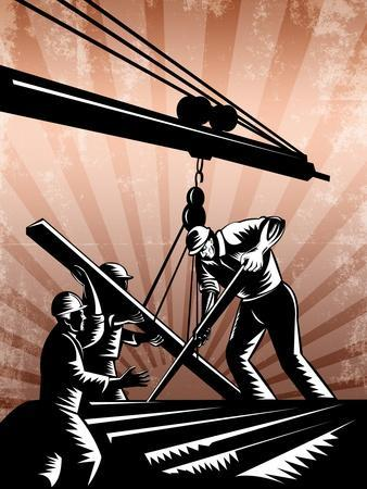 Construction Team Workers Woodcut Retro Poster