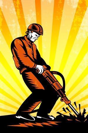 Construction Worker Jackhammer Retro Poster