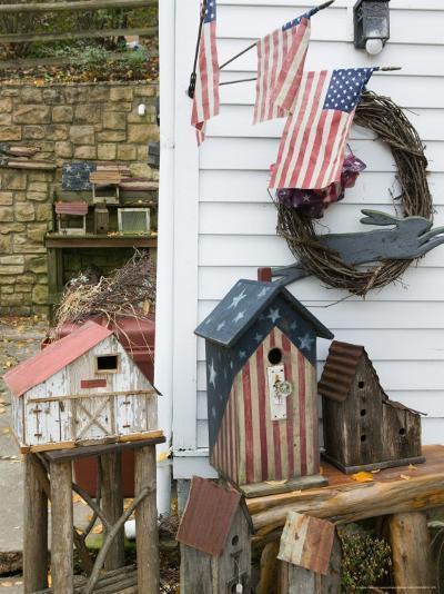 Patriotic Birdhouses, USA-Walter Bibikow-Photographic Print