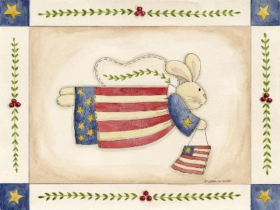 Patriotic Bunny Angel with Flag-Debbie McMaster-Giclee Print