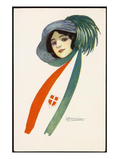 Patriotic Italian Girl--Giclee Print