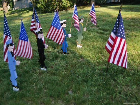 Patriotic Lawn Ornaments Represent the Varied Armed Forces of the U.S.-Stephen St^ John-Photographic Print