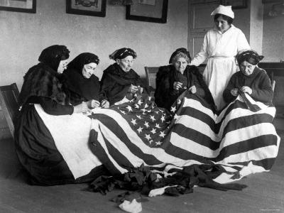Patriotic Old Female Immigrants Sewing an American Flag under Supervision of Instructor Rose Radin--Photographic Print