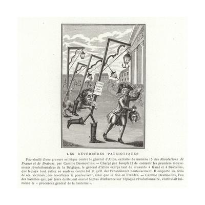 Patriotic Streetlamps--Giclee Print