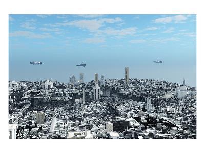 Patrol Ships over Scifi City--Art Print