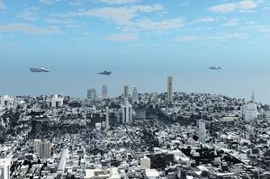 Patrol Ships over Scifi City