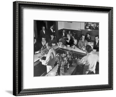 Patrons Enjoying the Ambiance at This Popular Speakeasy, a Haven For Drinkers During Prohibition-Margaret Bourke-White-Framed Premium Photographic Print