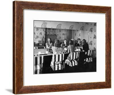 Patrons Touching Up Makeup Powder Room of the Stork Club-Alfred Eisenstaedt-Framed Premium Photographic Print