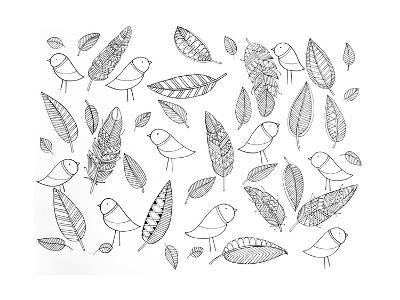 Pattern Bird Feathers-Neeti Goswami-Art Print