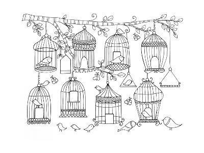 Pattern Birdcages-Neeti Goswami-Art Print