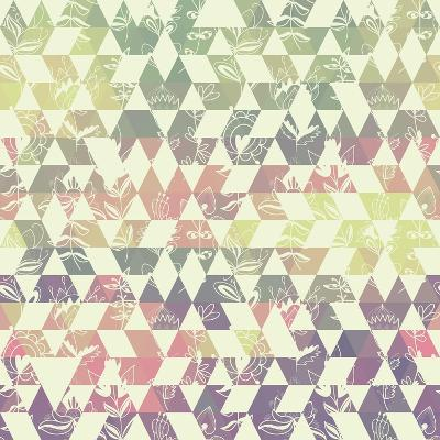 Pattern Geometric with Triangle and Plant Elements-Little_cuckoo-Art Print