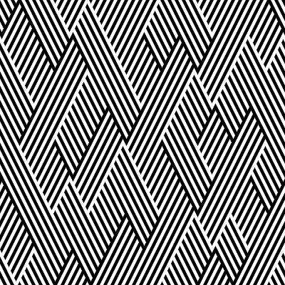 Pattern In Zigzag With Line Black And White-Lavanda-Art Print