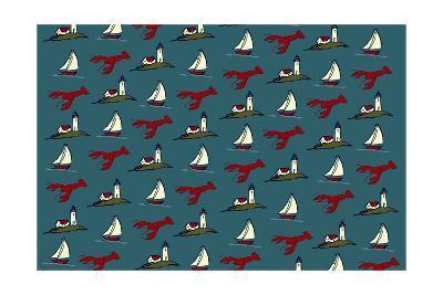 Pattern - Lobster, Lighthouse, Sailboat-Lantern Press-Art Print