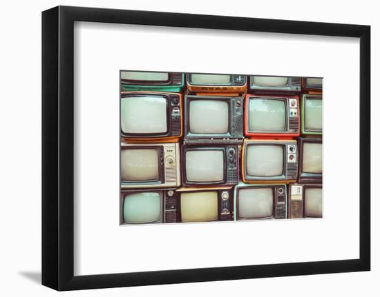 Pattern Wall of Pile Colorful Retro Television (Tv) - Vintage Filter Effect Style.-jakkapan-Framed Photographic Print