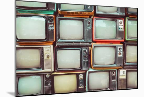 Pattern Wall of Pile Colorful Retro Television (Tv) - Vintage Filter Effect Style.-jakkapan-Mounted Photographic Print