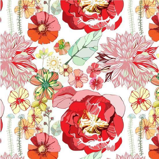 Pattern with Red Flowers- UyUy-Art Print