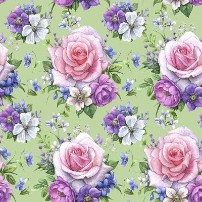 Pattern with Roses and Hellebore-Maria Rytova-Giclee Print