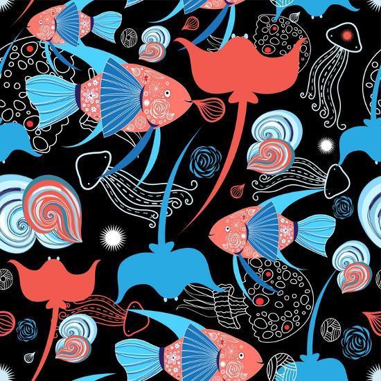 Pattern with Stingray and Fish-Tatiana Korchemkina-Art Print