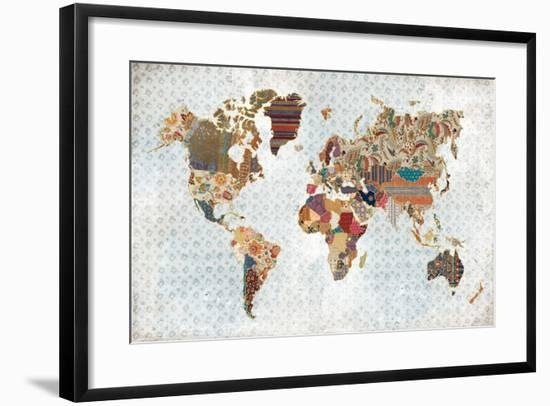 Pattern World Map Geo Background-Laura Marshall-Framed Art Print