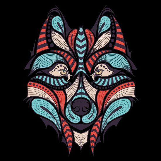 Patterned Colored Head Of The Wolf African Indian Totem