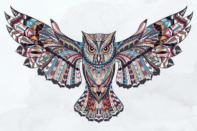 Patterned Owl on the Grunge Background. African / Indian / Totem / Tattoo Design. it May Be Used Fo- maverick_infanta-Art Print