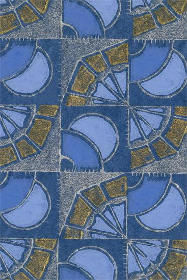 Patterned Squares of Blue and Gray-Found Image Press-Giclee Print