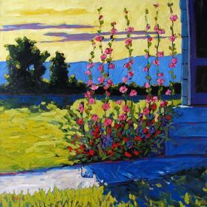Early Morning Hollyhocks by Patty Baker