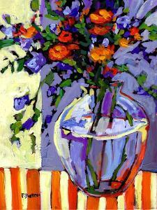 Flowers on a Striped Tablecloth by Patty Baker