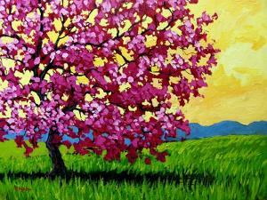 Pink Blossom Tree and Yellow Sky by Patty Baker