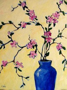 Pink Orchids in a Blue Vase by Patty Baker
