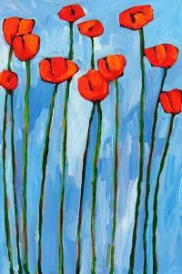 Poppies On Blue - 2 Of 3 by Patty Baker