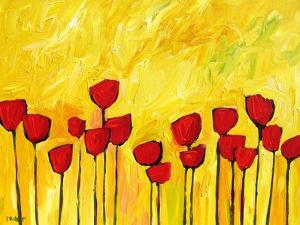 Red Flowers On Yellow by Patty Baker